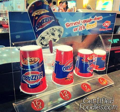 Cup sizes for Dairy Queen's Blizzard - it should be served