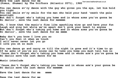 Bruce Springsteen song: Save The Last Dance For Me, lyrics